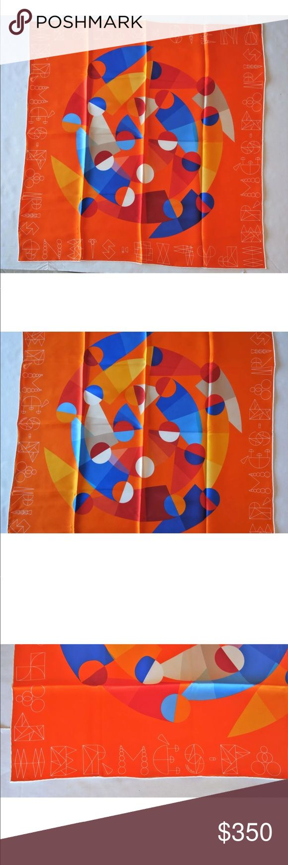 """HERMES 100% Silk Palio Di Siena Orange Scarf 70cm Designer: Hermes  Details: This is an Hermes 100% silk scarf in the style """"Palio di Siena"""" in orange/bleu/rouge.  It is size 70cm.  Made in France.  Comes with box.  Condition: Never worn, excellent condition. Hermes Accessories Scarves & Wraps"""
