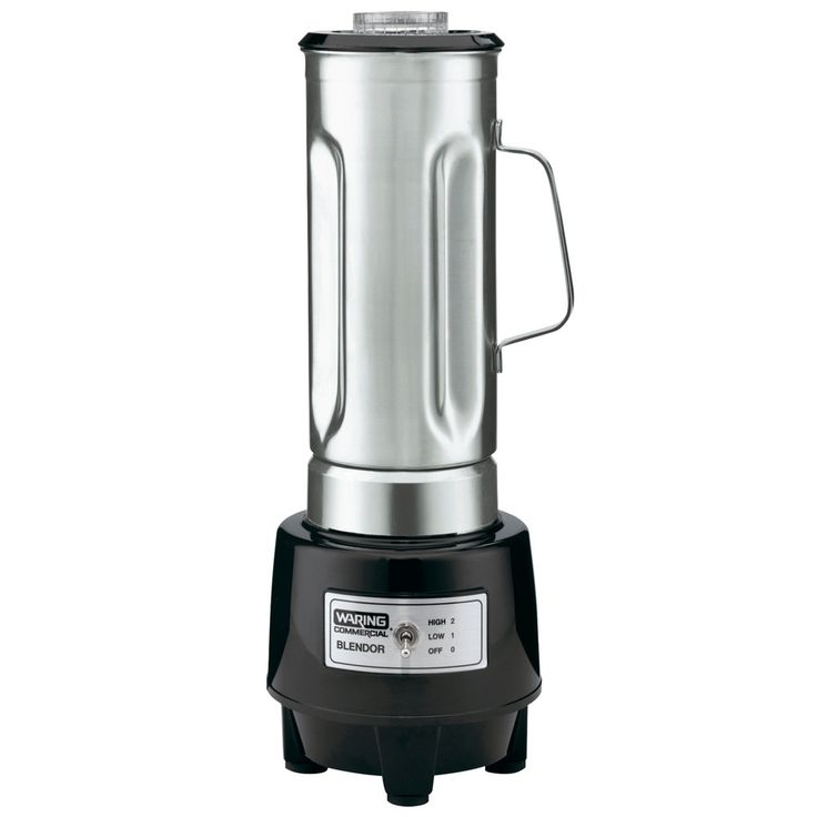 The Waring HGB150 commercial food blender effortlessly blends fruit smoothies, pina coladas, popular frozen coffee drinks, and homemade soups, with its powerful, 1.5 horsepower commercial grade motor and easy, two speed operation. A durable, one-piece stainless steel cutting blade tears through ice cubes, frozen fruit, vegetable skins, and much more, holding up under continued use.<br><br> The Waring HGB150 commercial food blender's easy-to-clean, heavy-duty motor housing is built to stand…