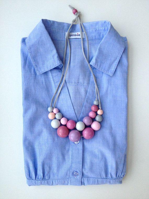 Wooden bead necklacewooden necklacebeaded by RenataRatkai on Etsy