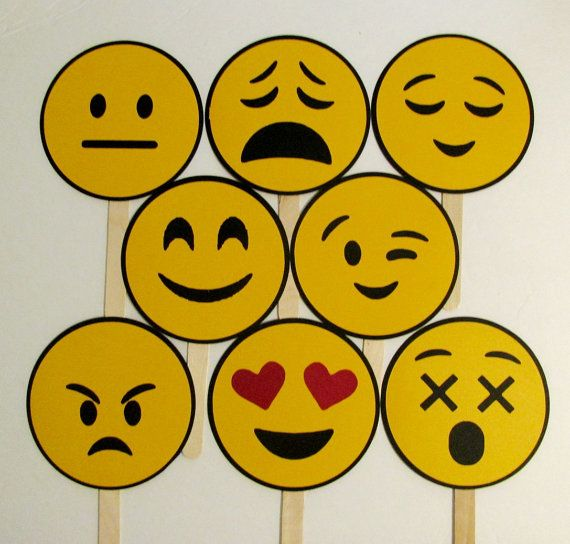 Photo Booth Props Emoji 8pc Emoticons Photo Booth by PimpYourParty