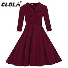 Clola 2017 nova chegada do verão do vintage dress vermelho preto meia manga elegante vestido de baile vestido de trabalho casual partido mulheres vestidos vestidos(China (Mainland))