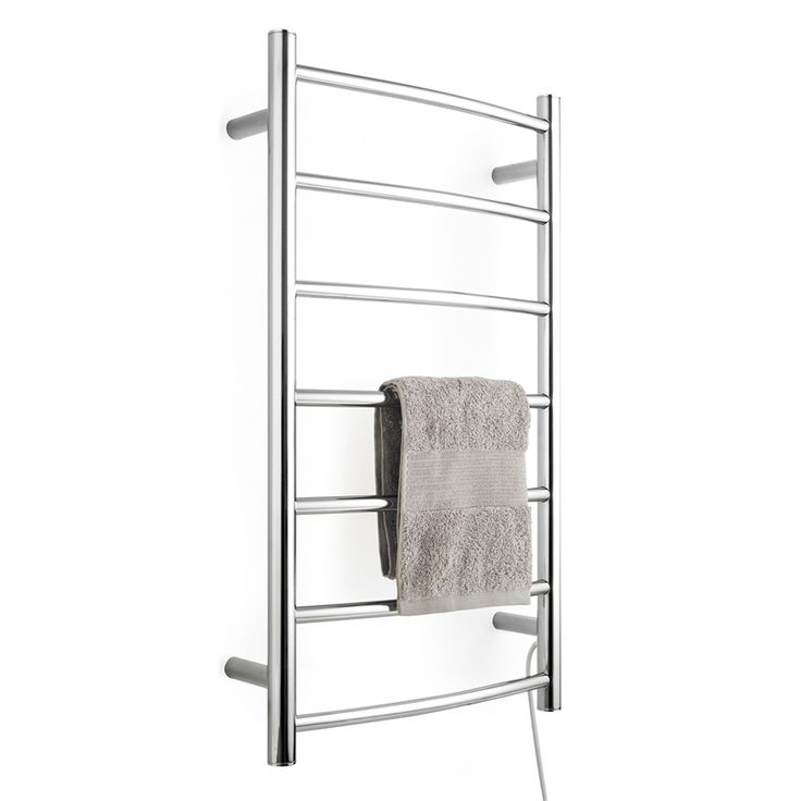 The Bath Co Winchester Heated Towel Rail 914 X 535: Arlec 7 Bar 65W Curved Heated Towel Rail Stainless Steel