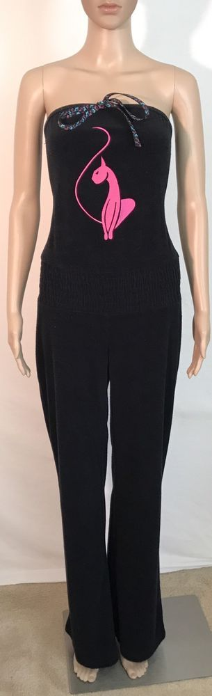 SALE* -  Baby Phat Black Sleeveless Women's Jumpsuit - Size M Medium #BabyPhat #Jumpsuit
