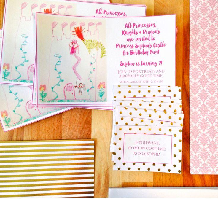Let your little artist design her own birthday invitation! #princess