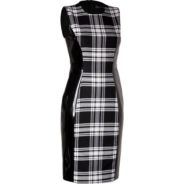 Versace - Wool/Patent Dress in Black/White (29.850 RUB) ❤ liked on Polyvore featuring dresses, versace dress, black and white cocktail dress, wool sheath dress, black and white sheath dress and wet look dress