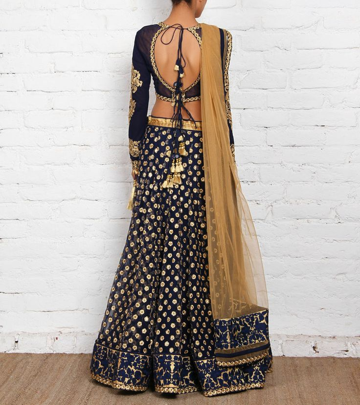 Blue and Golden Net Art Silk Lehenga Set - back
