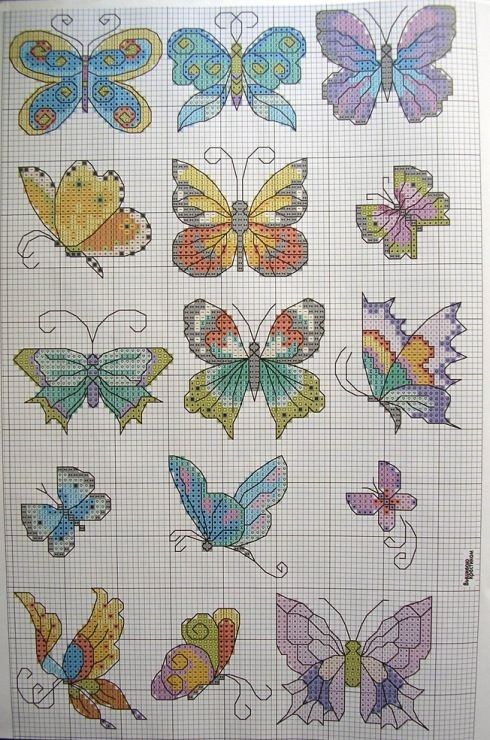 Cross stitch butterfly and chart. Gallery.ru / Фото #25 - В к 6 (81) 11 - logopedd