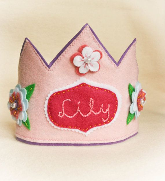 Personalized  Felt  Crown- Pink Fairy Princess, Costume Accessory- So cute for 1st birthday!