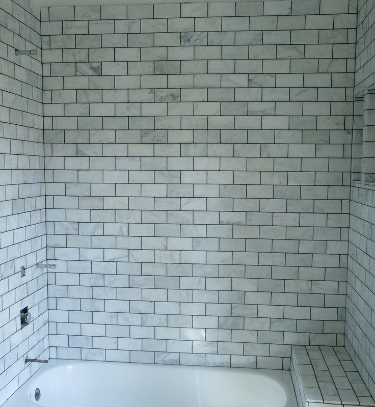 White Bathroom Tiles With Grey Grout: Bungalow Home: Black & White