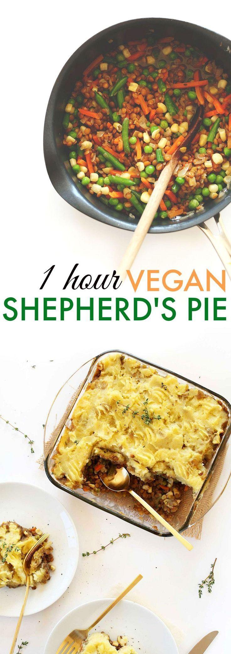 Vegan Shepherd's Pie - Easy & delicious version with veggies, lentils and the perfect potato mash! http://minimalistbaker.com/1-hour-vegan-shepherds-pie/?crlt.pid=camp.wnsMLhqezZsC