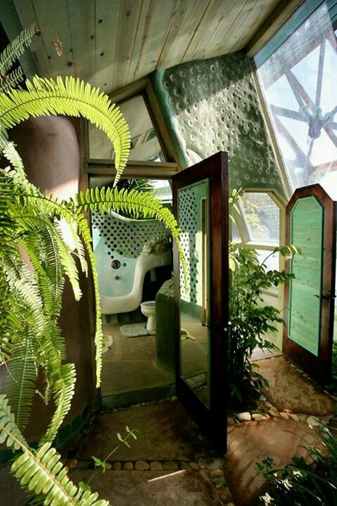 Earthship bathroom entrance