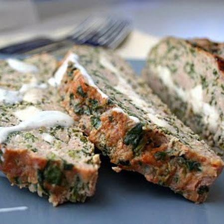 #Meatloaf with a greek essence! Try this feta stuffed turkey meatloaf with #tzatziki sauce.