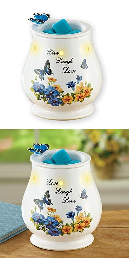Vintage Spring Butterfly and Flowers Inspirational Electric Tart Warmer, Includes 25W Bulb
