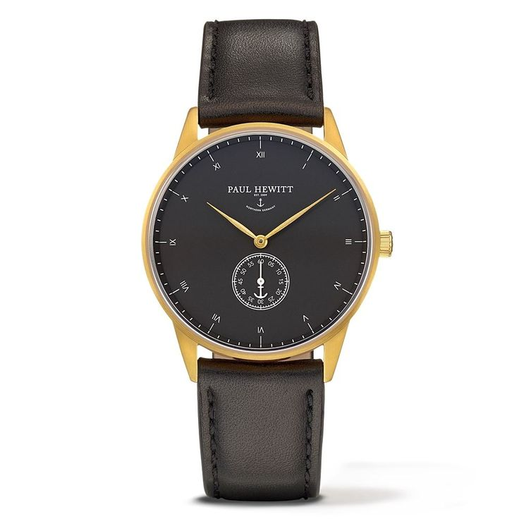 PAUL HEWITT Signature Line Watch Nautical Gold Mark Black Sea Leather Classic Black PH-M1-G-B-2M - Kultatähti.fi verkkokaupasta
