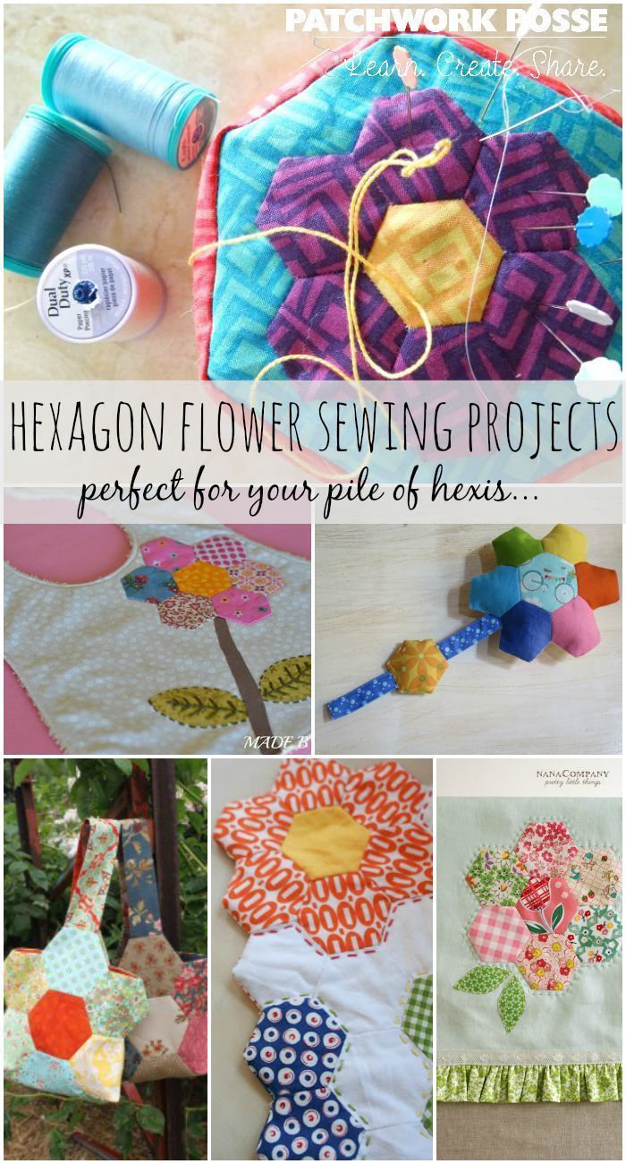Learn how to make hexagon flowers by hand and then turn them into something cute! These easy sewing projects are perfect for them.