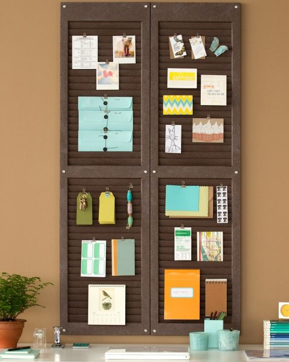Turn window shutters into a stylish, unexpected organizer for your home office, den, or child's room.Learn & Do: Making a Shutter Organizer