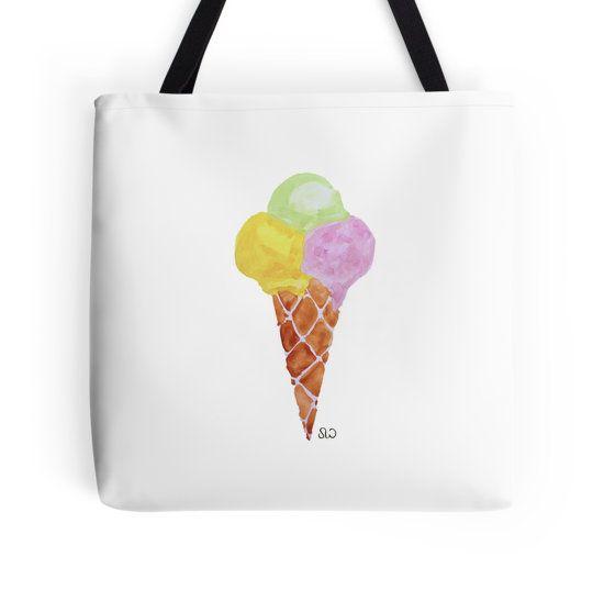 Ice cream cone watercolour painting