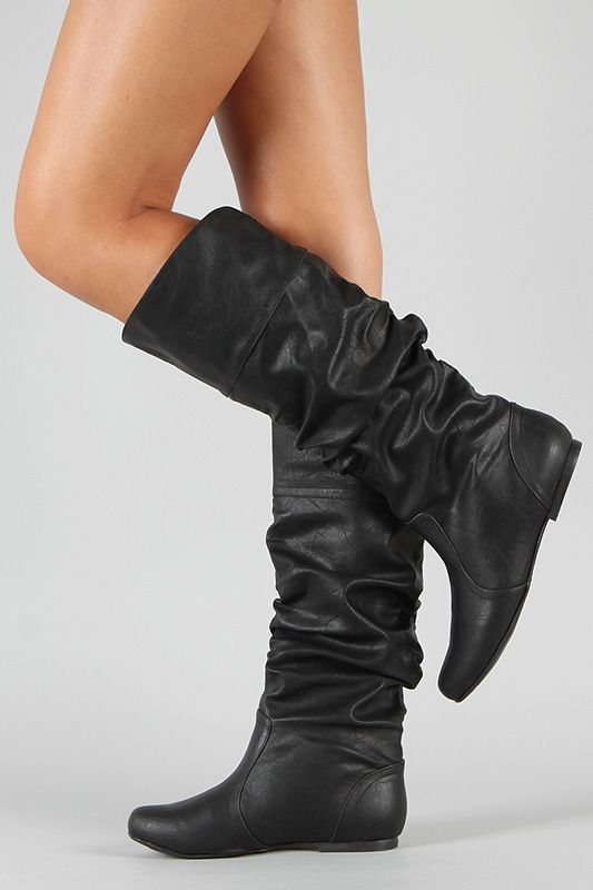 Qupid Neo-144 Leatherette Slouchy Knee High Boot