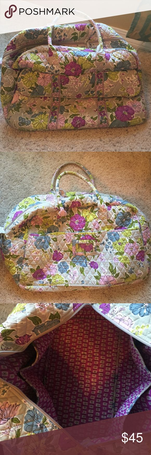 "Vera Bradley watercolor weekender travel bag Vera Bradley 'weekender' travel bag in watercolor pattern. Pattern is now retired! Excellent bag with no signs of wear. Lots of storage! Missing the long strap for shoulder. 19"" wide 14"" tall. Price negotiable. No trades. Vera Bradley Bags Travel Bags"