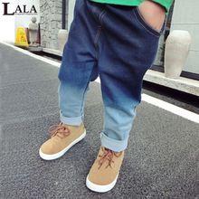 Lala 2015 los nuevos niños de los pantalones vaqueros del remiendo niños cintura elástica jeans sueltos por 2-7 años liberan el envío(China (Mainland))