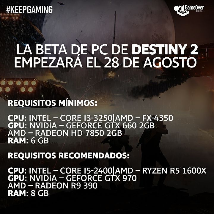 Ya tenemos fecha de lanzamiento y requisitos de sistema para la Beta en PC de Destiny 2. #Destiny2 #Beta #Bungie #Destiny #PC