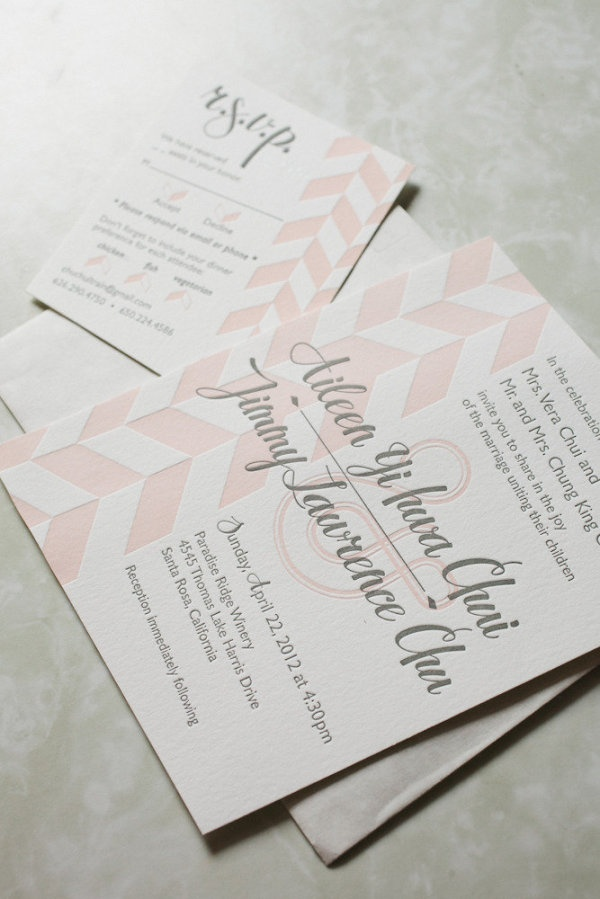 what's white, pink and modern all over? these lovely invites!  Photography by andrialo.com