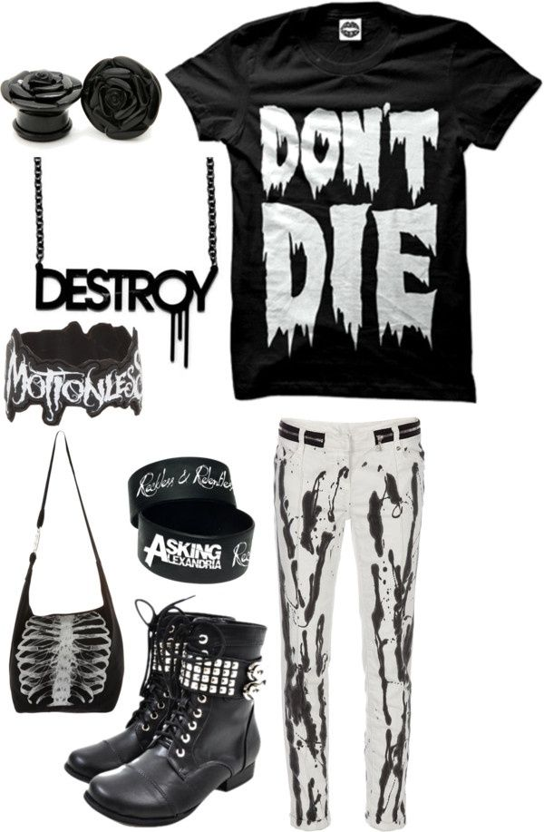 emo style / outfit / don't die / black and white / skull
