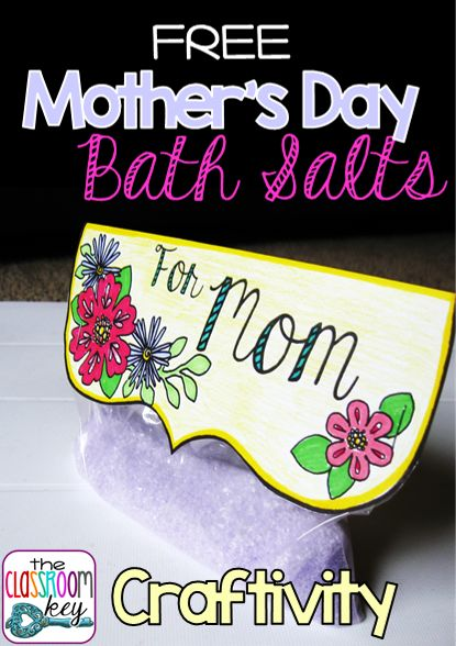 Make this easy Mother's Day bath salts craft with your students. FREE printable to decorate the bag you put them in.