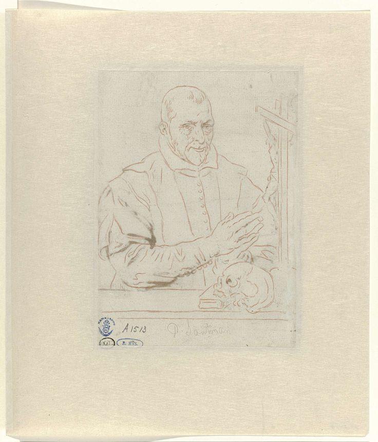 anoniem   Portret van Nicolaas Wigger, priester te Haarlem, possibly Pieter Claesz. Soutman, 1628 - 1633   Portret van Nicolaas Wigger, priester te Haarlem. De contouren van de voorstelling op de voorzijde doorgetrokken met rood krijt. Ontwerp voor een prent.