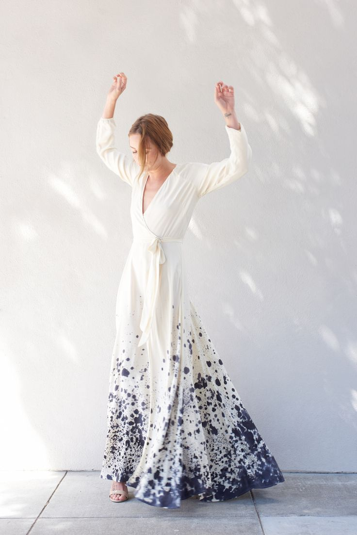 Kamperett Linden Silk Wrap Dress | Hand Painted Tidal Print