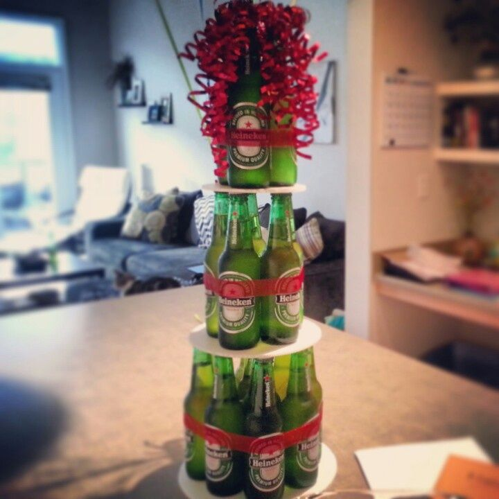 Made my boyfriend a Heineken Beer Bottle Cake for his birthday! This was a smaller