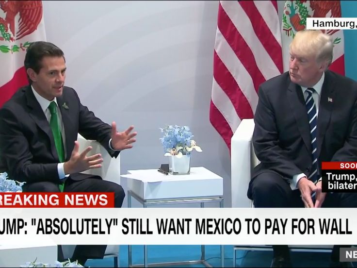 """Sitting next to Mexico's president, Trump says he 'absolutely' still wants him to pay for the wall - President Donald Trump said Friday he """"absolutely"""" wants Mexico to pay for the massive wall along the US-Mexico border, during a meeting with Mexican President Enrique Peña Nieto at the G-20 summit in Hamburg, Germany.  Trump made the comment after a reporter shouted a question his way about whether he still wanted Mexico to pay.  """"Absolutely,"""" he said, according to a pool report.  Mexico has…"""