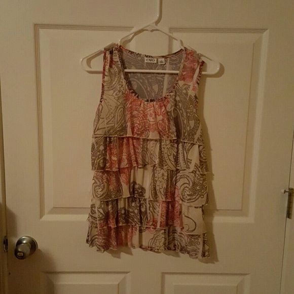 Ruffle tank Brown and coral ruffle tank. Like new worn a couple times Cato Tops Blouses
