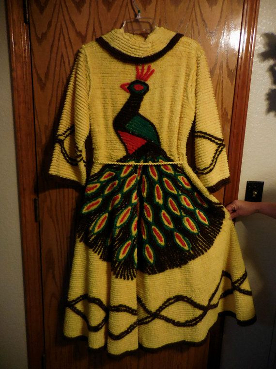 Vintage Chenille PEACOCK Robe  Bright YELLOW and by ChenilleGalore