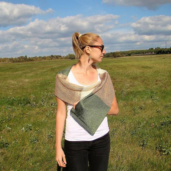 Beige Khaki Green White Shawl / Hand Knitted Formal Wear Shawl