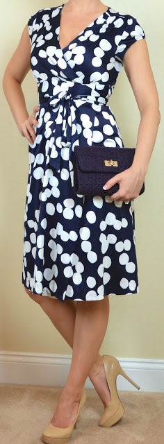 Outfit Posts: outfit post: navy & white polka dot dress, nude heels