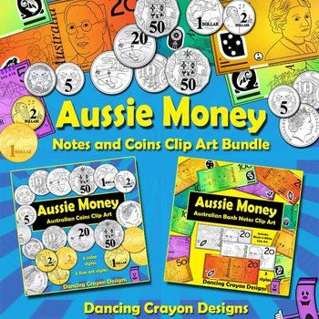 Australian money clip art - both coins and bank notes in a value bundle.  Great for creating math-related teaching resources.  $