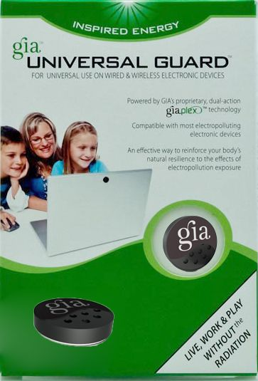 The GIA Universal Guard provides your first line of defense against electromagnetic radiation (EMR) from common household and office devices. It actively works to neutralize the effects of your exposure to EMR, as well as strengthen the body's resilience to stress, at the same time.