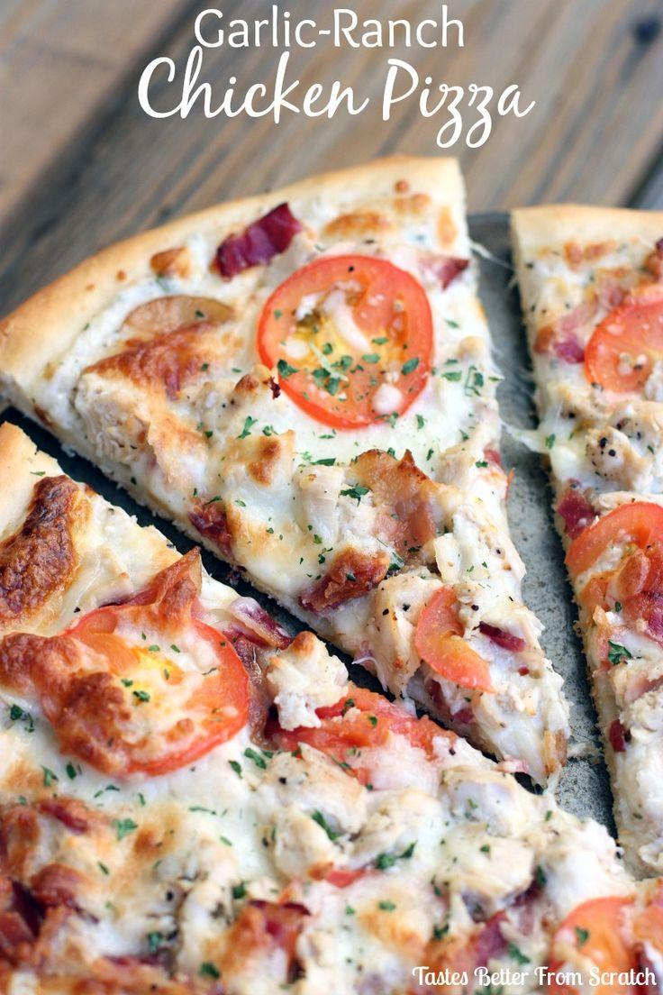 Garlic-Ranch Chicken Pizza -YUM!