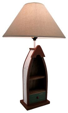 Wooden Row Boat Table Lamp With 2 Shelves and Drawer beach-style-table-lamps