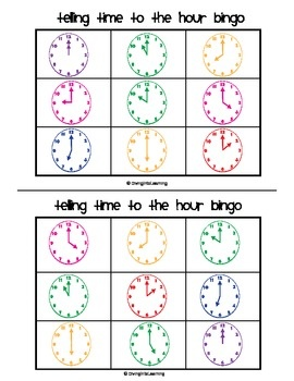 $ Telling Time to the Hour Bingo. Includes 24 cards