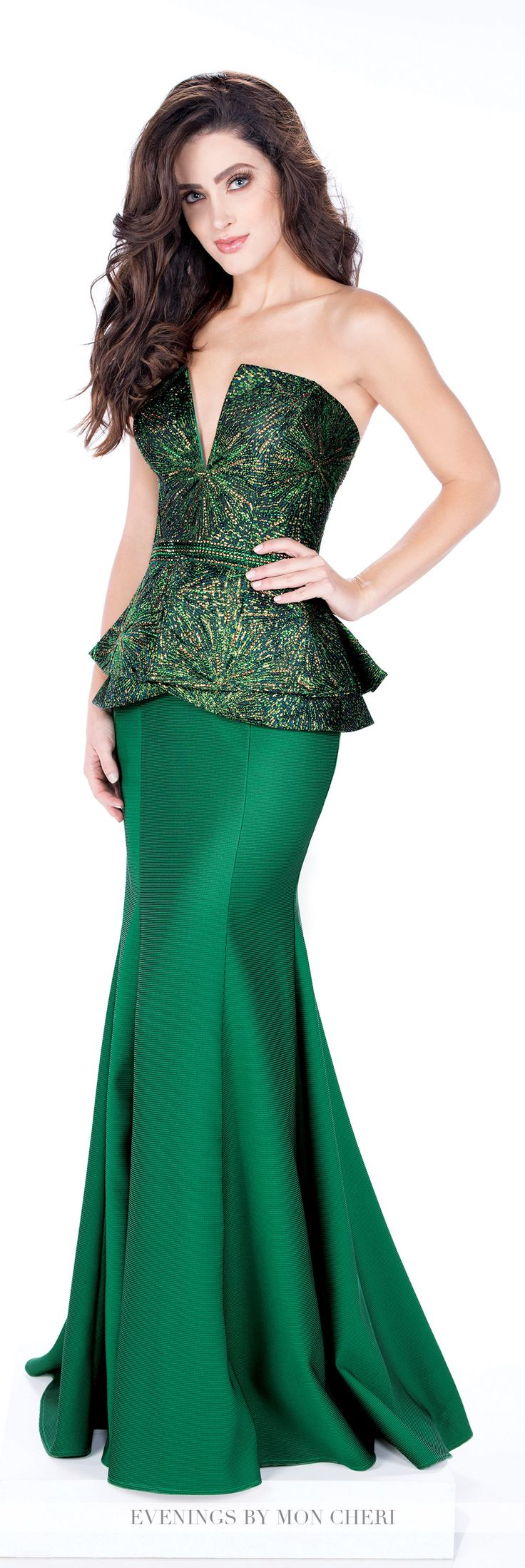 Formal Evening Gowns by Mon Cheri - Fall 2016 - Style No. MCE21635 - emerald green evening dress with brocade peplum bodice and sweep train