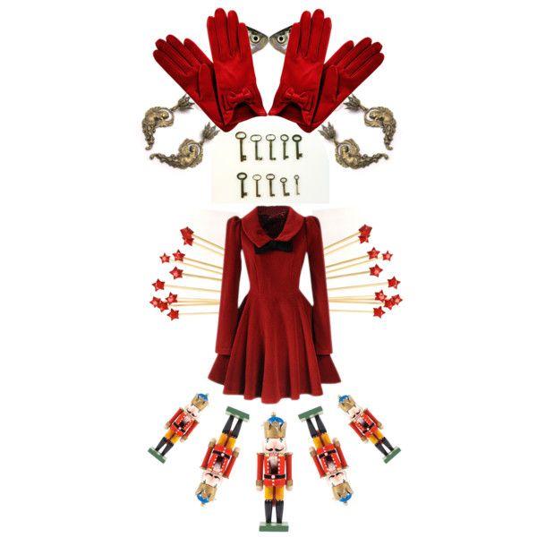 "Dress: romwe.com; Gloves: my-wardrobe.com; Earrings: ArxRosarum.etsy.com; Keys: Andolinaswishes.etsy.com; Fish print: 99heads.etsy.com; Cake toppers: TheUnbirthdayParty.etsy.com; Nutracker: TheRetroBottega.etsy.com; Collection: ""My Little Red"" by arxrosarum on Polyvore."