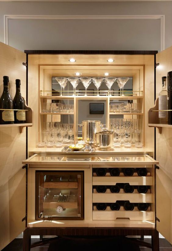 Inside a luxurious drink cabinet