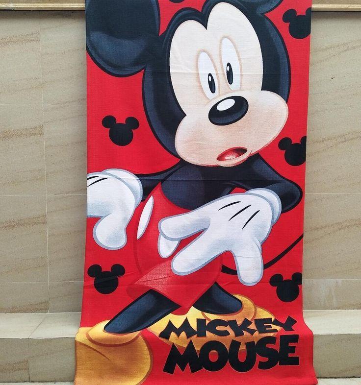 Lovely Mickey Red Swim Towel 70X140Cm Swim Cotton Mangat Washcloths