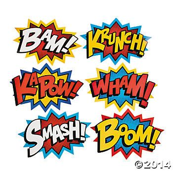 Turn your party into a Superhero comic book by putting these large paper cutouts up on walls and windows. Includes 6 cutouts with assorted comic sayings in red, yellow, blue, and white. Easy to hang a