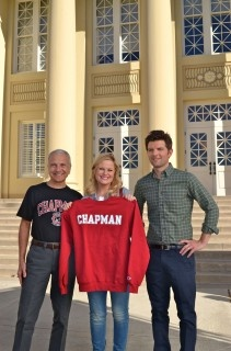 """#NBC's """"Parks and Recreation"""" filmed at Chapman this week! Old Towne Orange stood in for a small town in Minnesota - go figure! #ParksandRec #AmyPoehler #ChapmanU"""