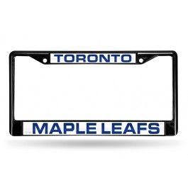 Toronto Maple Leafs Black Laser-Etched Chrome License Plate Frame