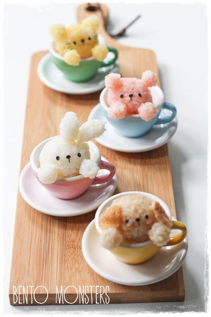 animal onigiri (rice ball) in the teacup