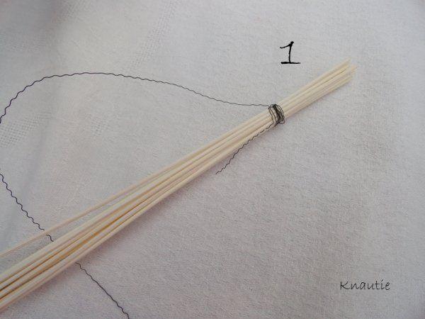 Tressage du rotin : prendre 14 brins de rotin, ou plus, et les lier ensemble avec un fil déco .